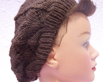 Chocolate brown beret, Handknit beret, Wool silk beret, Brown Merino beret, Chocolate brown tam, Handknit tam, Brown Merino tam, Winter hat
