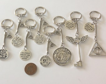 Potter inspired  keyrings/bag charms