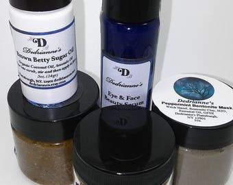 Facial Kit /Sugar Scrub, Serum, Mask, Cleanser Travel Kit Perfect Gift!