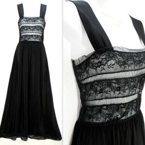 Jet Black Nylon Slip Dress Accordion Pleats /& Sheer Lace Full Slip Vintage Intimates Chemise Lingerie Empire Waist Bias Cut Size 32 S M