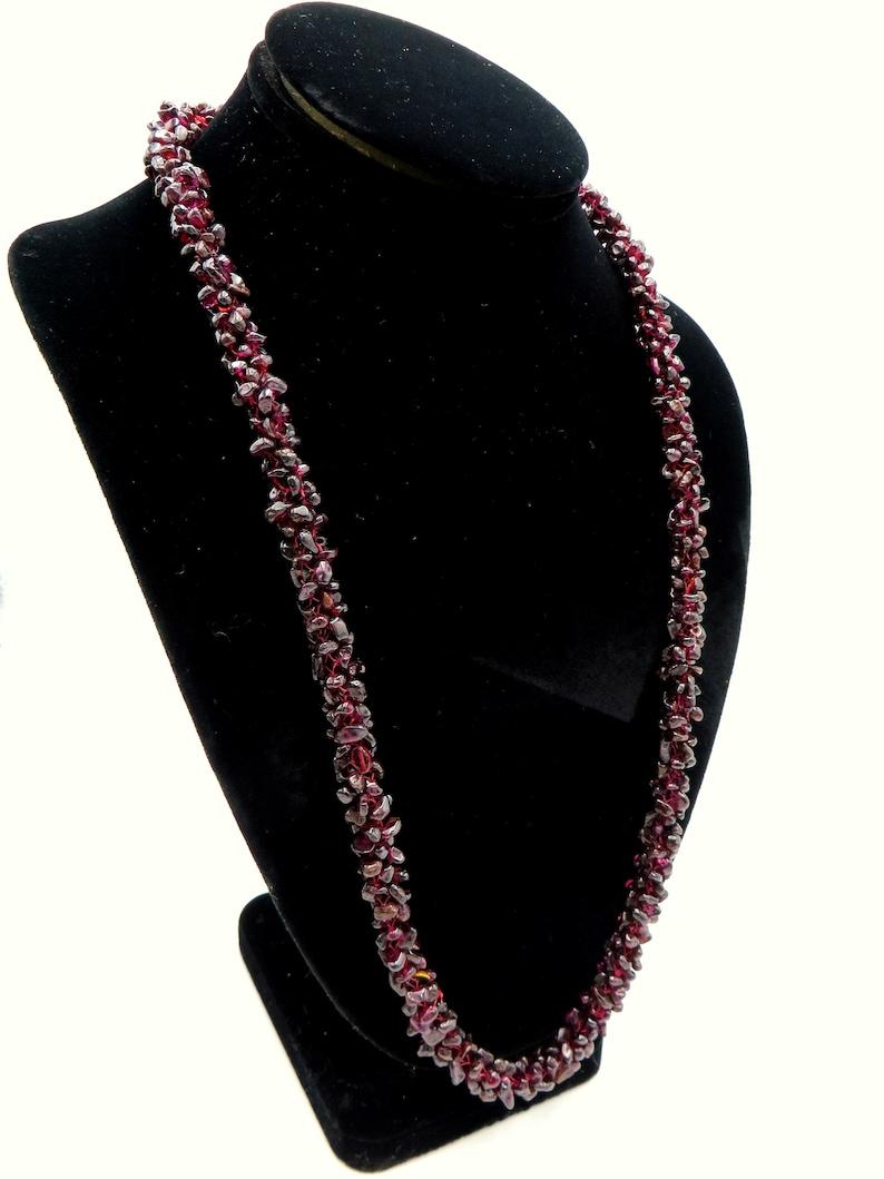 grams 26 Vintage Natural Bohemian Garnet Necklace Woven Rope Bead Garnet Stones Deep Red Pyrope Garnet Crochet Eternity Necklace 99