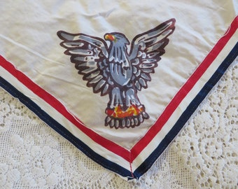 0486394a5f24b Vintage EAGLE SCOUT Scarf    Boy Scout Uniform White Scarf    Boy Scout  Accessory Vintage    Red White Blue Scarf with Eagle