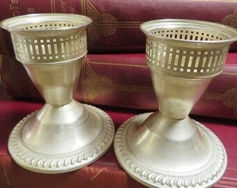 """Sterling Silver Candlesticks Candle Holders Set of 2 Matching Made by DUCHIN  //  Weighted Candleholders  //  3 1/8"""" Tall Diameter is 2 7/8"""""""
