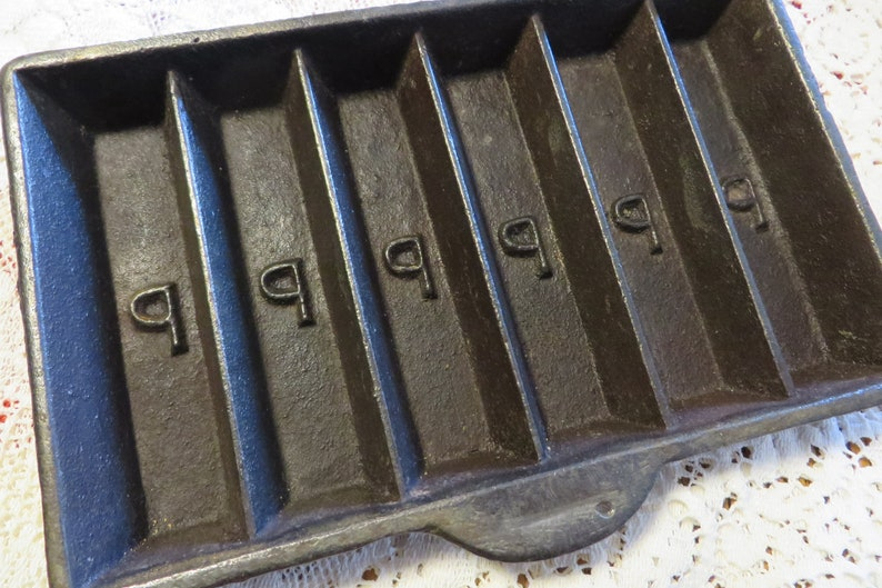 Antique, Heavy Cast Iron INGOT Mold // 6 Bars // Embossed with