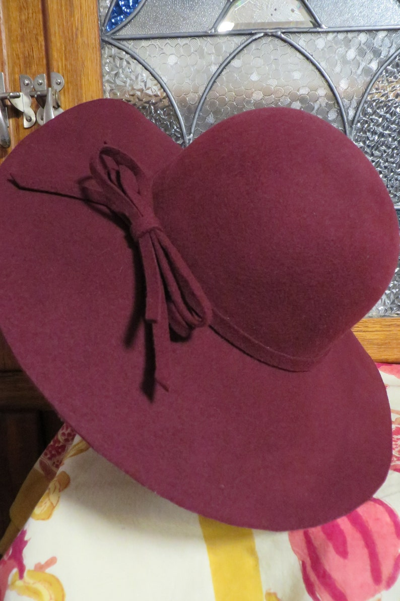 77be5d399 Wine Wool Hat Fall/Winter Fashion Accessory // Floppy Style Hat w/ BOW  Large Brim // Med/Lge 22 1/2