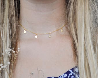 Dainty Gold Filled Star Choker Necklace | Gold charm necklace | Layering | Celestial | UK