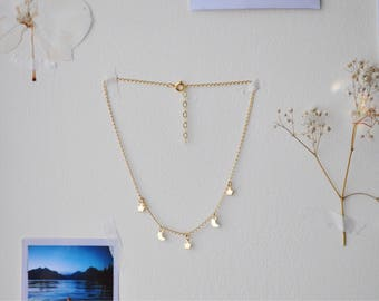 Dainty Gold Filled Moon and Stars Choker Necklace | Gold charm necklace | Layering | Celestial | Luna | UK