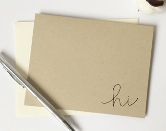 Hi Cards with Lined Envelopes / blank cards - hello card - hello card set - hi cards - just because - gift for women - gift for friend