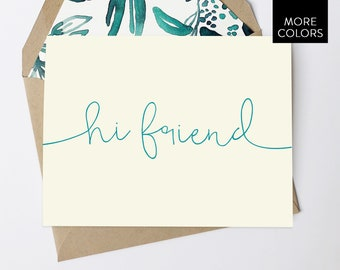 Hi Friend Cards with Lined Envelopes / hello card - hello card set - hi cards - just because - gift for women - gift for friend