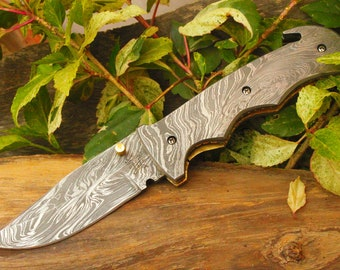 "3.5""Damascus Blade Custom Handmade Folding knife w/Damascus Handle,File-Work, Liner Lock & Fine Sheath Cover  UDK-F-D-04"