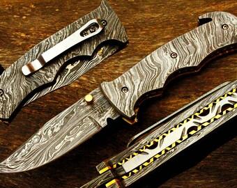 "3.5""Damascus Blade Custom Handmade Folding knife w/Damascus Handle,File-Work, Liner Lock & Fine Sheath Cover  UDK-F-D-08"