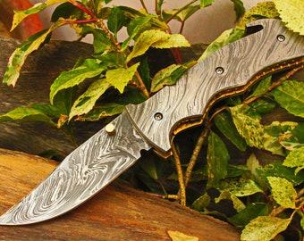 "3.5""Damascus Blade Custom Handmade Folding knife w/Damascus Handle,File-Work, Liner Lock & Fine Sheath Cover  UDK-F-D-10"
