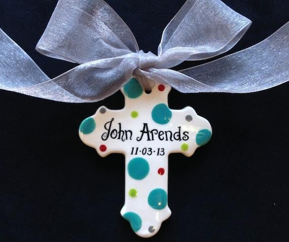 Baptism Ornament Cross Ornament Boy Baptism Ornament: Hand Painted Personalized Cross Ornament Baptism