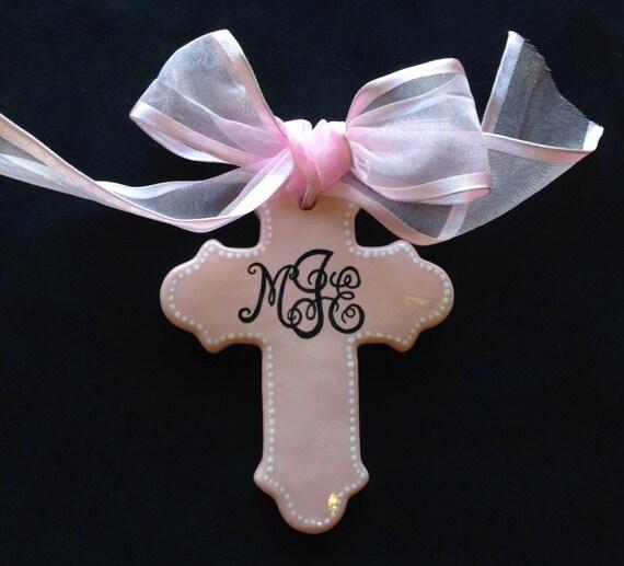 Baptism Ornament Cross Ornament Girl Baptism By: Pink Personalized Cross Ornament Easter Baptism