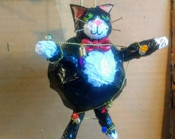 Fat Cat Silhouette Stained Glass Ornament Cat Memorial Original and Exclusive Design Handmade