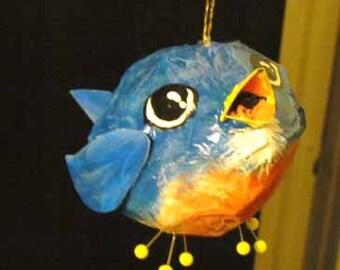 Handmade Bird Ornament, Bluebird