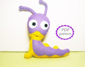 Felt Tulli baby tv animal toy pattern PDF sewing instruction cute stuffed soft plush tutorial DIY - Instant Dawnload handmade gift for baby