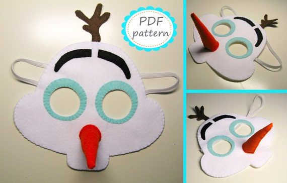 PDF PATTERN Snowman Olaf felt mask sewing tutorial instruction DIY handmade white frozen costume accessory for boy girl adult Dress up play from ... & PDF PATTERN Snowman Olaf felt mask sewing tutorial instruction DIY ...