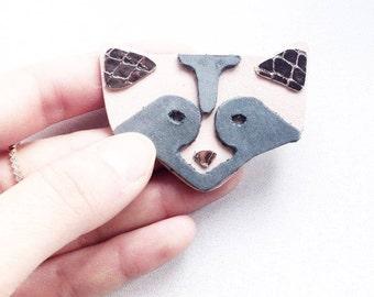 Whimsical brooch / Leather brooch / Léonny Cha / racoon