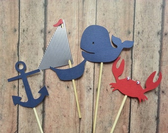 Sailboat, Anchor, Whale, & Crab Nautical Cupcake Toppers