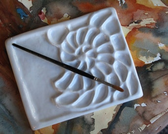 Nautilus Shell Water Color Porcelain Palette 9x7 inches