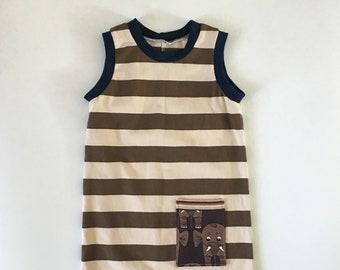 18-24M Toddler - Striped Tank Romper - Unisex Romper - Elephant Romper - Brown Striped Romper - Snap Romper - Summer Boy Outfit - Summer Set