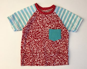12-18M Tee - Summer Tee - Toddler Summer Tee - Upcycled Boy Clothes - Eco boy Clothes - Red, White & Blue Tee - Birthday Shirt - Eco Kid