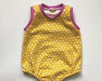 5697fdc25b3 24M Baby Romper - Bubble Romper - Mustard Polka Dot Romper - Baby Girl  Romper - Organic Romper - Eco Baby Gift - Snap Romper - Summer Outfit