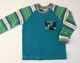 12-18M Boy - Truck Tee - Toddler Digger Tee- Upcycled Boy Clothes - Eco boy Clothes - Diggers - Birthday Shirt - Eco Kid - Raglan Tee