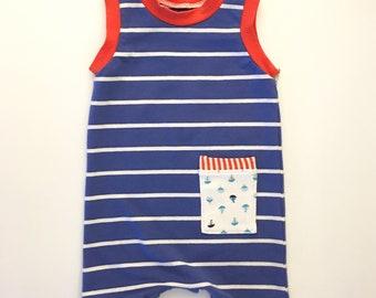 0-6M Baby - Tank Romper - Unisex Romper - Baby Boy Romper - Baby Shower Gift - Eco Baby Gift - Sailor Romper - Snap Romper - Summer Boy