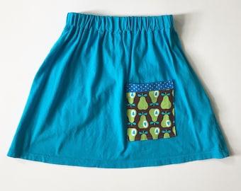 Girl 4T - Apple skirt - Knit Skirt - Blue Knit Skirt - Eco Kids Clothes - Upcycled Kids Clothes - Toddler Skirt - Blue Picnic Skirt - Apples