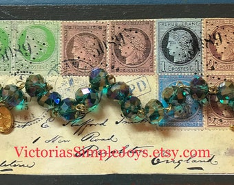 Bracelet Catholic Rosary Beads Teal Crystals