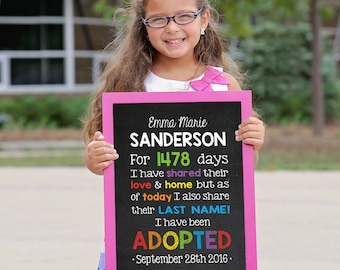 Adoption Sign, Adoption Announcement, Adoption Gifts, Adoption chalkboard, Adoption Print, Adoption Day Gift, Gotcha Day Sign, ADOPTED SIGN