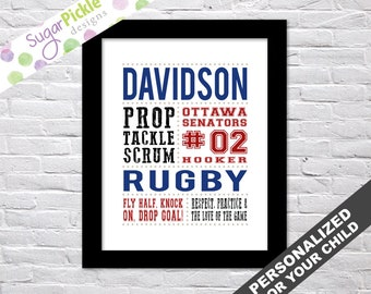 PERSONALISED RUGBY BLACK BOYS BIRTHDAY CHRISTMAS GIFT PRESENT XMAS WORD ART