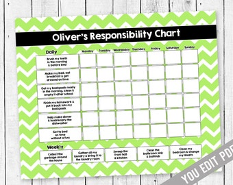 Chore Chart For Teens Reward Responsibility Allowance Behavior Kids Printable YOU EDIT PDF