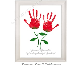 Gift For Mom Moms Birthday Mothers Day Handprint Kids To A Mother Idea