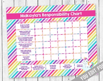 Editable Unicorn Chore Chart For Kids Responsibility Allowance Weekly Behaviour Job