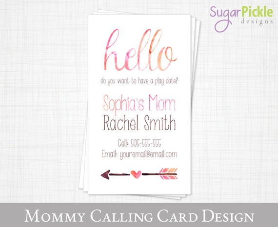 mommy business card play date card mom of card mommy etsy