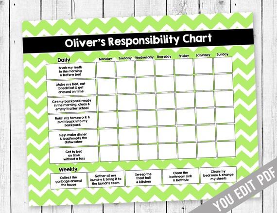 chore chart for teens reward chart responsibility chart etsy