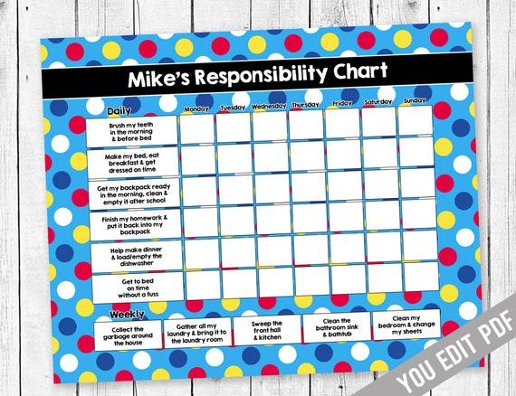Chore chart for kids reward chart responsibility chart etsy