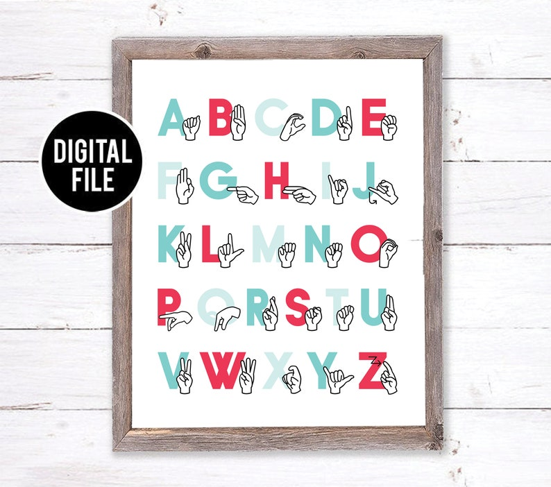 picture relating to Sign Language Alphabet Printable identified as ASL Alphabet Printable Artwork Wall Decor - Indicator Language Alphabet Artwork - ABC Woman Nursery Artwork - Alphabet Homeschool Decor - Red Playroom Artwork