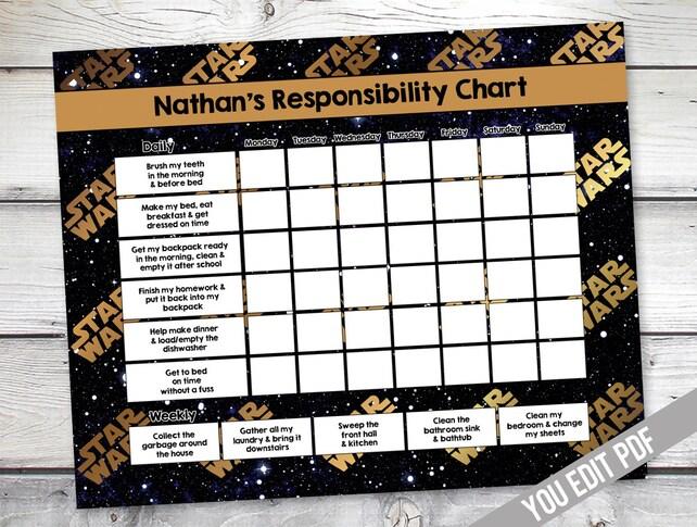 Star Wars Chore chart Boys Reward Chart Responsibility | Etsy