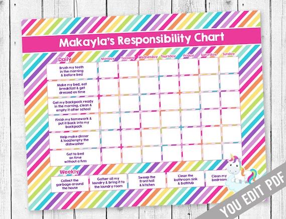 Chore Chart For Kids Unicorn Incentive