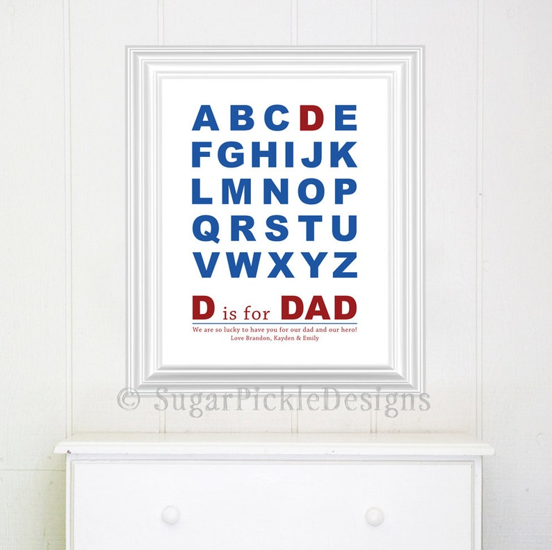 picture about Lucky to Have a Dad Like You Printable called Fathers Working day Present, Dad Wall Artwork, Printable Alphabet Fathers reward, Customized Fathers Reward