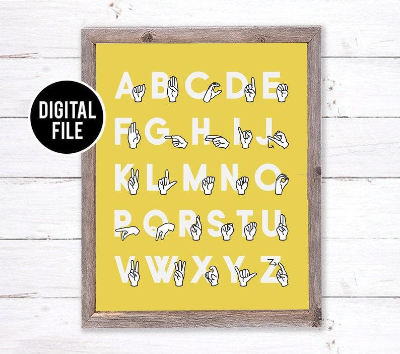 image regarding Asl Alphabet Printable named ASL Alphabet Printable Artwork Wall Decor - Signal Language Alphabet Artwork - Printable Nursery Artwork - Alphabet Homeschool Decor - Yellow Playroom Artwork