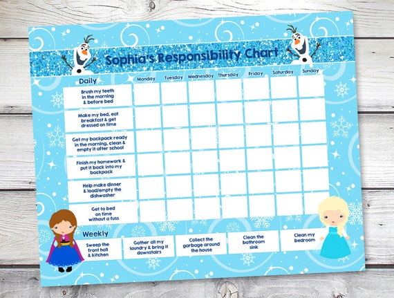 Frozen Chore Chart Reward Responsibility