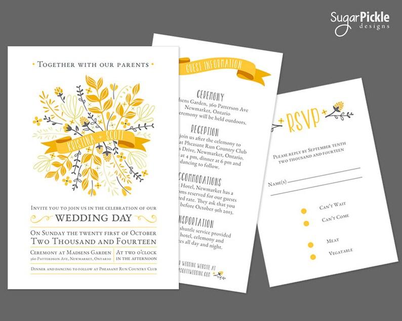 DIY Invitation Fall Wedding Invitation double invitation Private Listing for Carolyn Wedding Invitation
