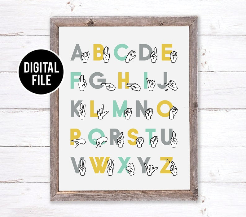 graphic regarding Printable Sign Language Alphabet identify Printable ASL Alphabet Artwork Wall Decor - Indicator Language Alphabet Artwork - Woodland Nursery ASL Artwork - Alphabet Homeschool Decor, Playroom Artwork