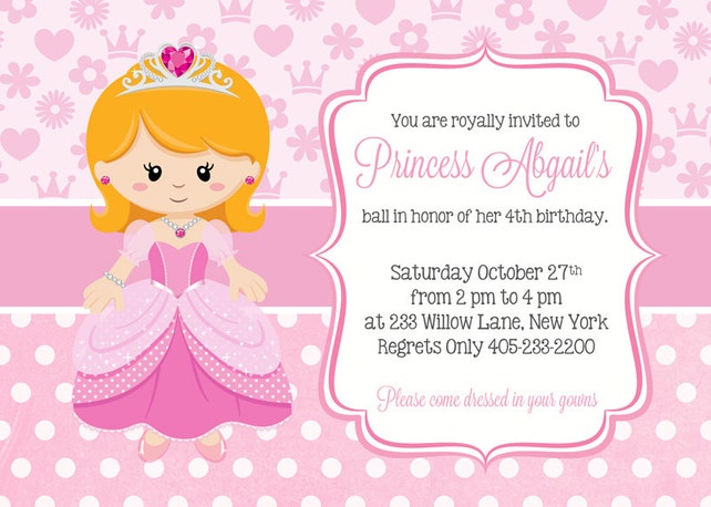 Princess Birthday Invitation Invites Party Girl Invitations Pink