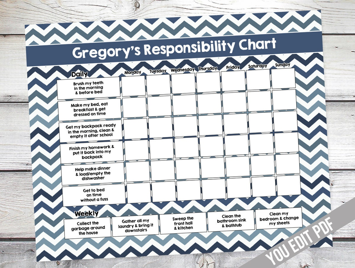 It is a photo of Shocking Printable Chore Charts for Teens
